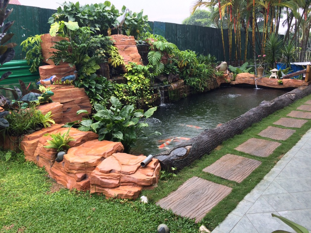 Matured rock sculpted pond aquatic paradise for Fish pond rocks
